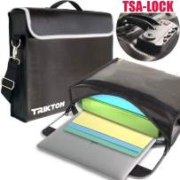 TRIKTON Fireproof Document Safe Bag with TSA-Lock, XL Black, Visible in The Dark, Stores Bulky Binders Without Fold Them, X-Large 15x12x3 Fire and Water-Resistant Briefcase | Lock Box for Documents