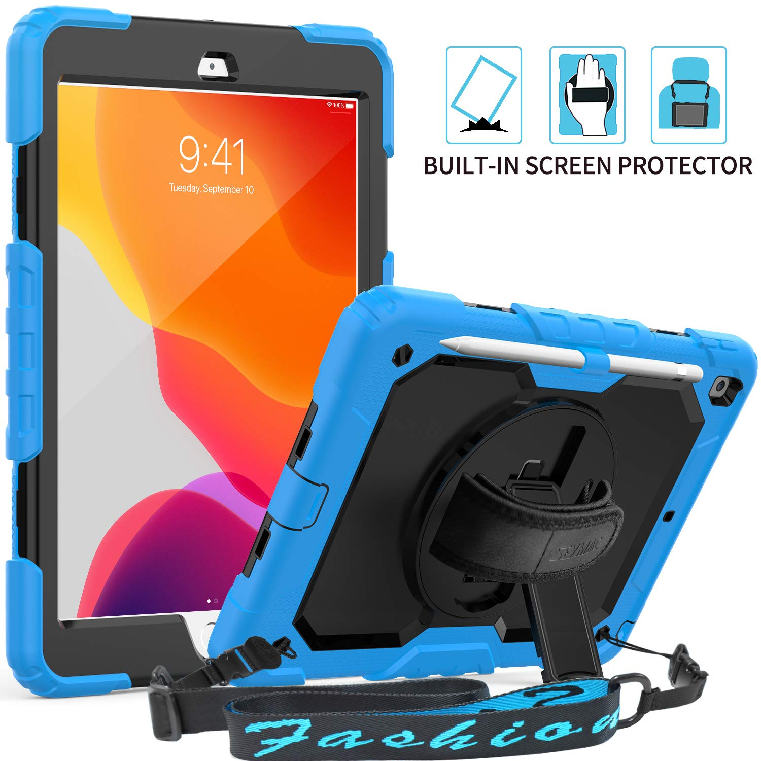 """iPad 7th Generation Case, SEYMAC 3 Layer Full Body Hybrid Protection Case with 360 Rotatable Hand Strap & Stand [Screen Protector] Shoulder Strap [Pencil Holder] for 2019 iPad 10.2""""(Light Blue/Black)"""