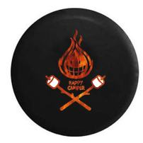 American Unlimited Happy Camper Camp Fire Marshmellows Flames Spare Tire Cover (Fits: Jeep Wrangler Accessories or SUV Camper RV) Black 33 in