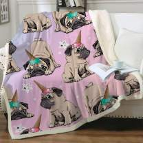 "Sleepwish Pug Dog Blanket Queen Size Pink Unicorn Ice Cream Print Fuzzy Blanket Bed or Couch Warm and Plush Travelling Camping Blankets Animal Blanket for Girl Adults (90"" X 90"")"