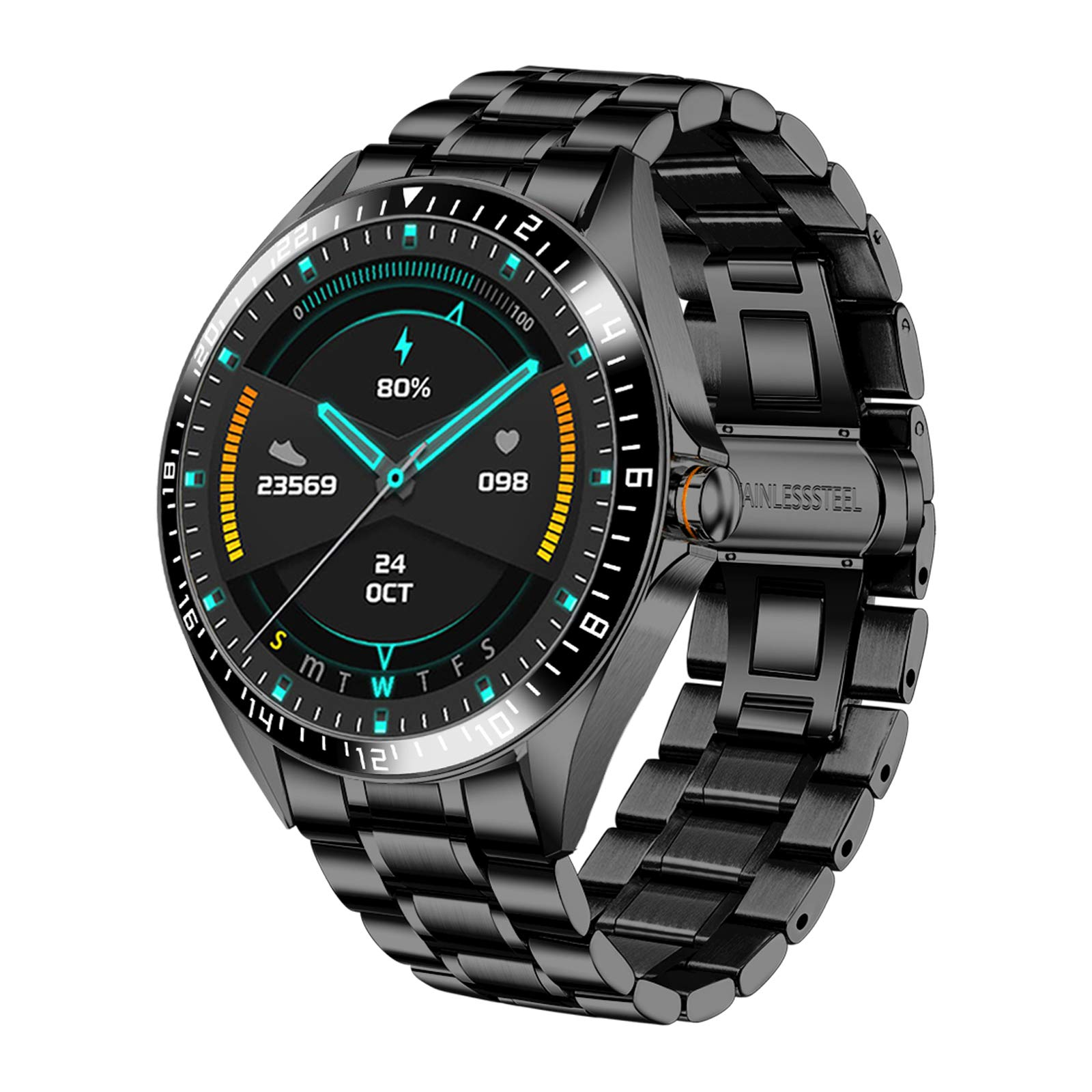 Smart Watch for Men Stylish, Fitness Trackers Waterproof with Heart Rate for Android iPhone, Sports Watch Bluetooth Remote Camera Pedometer Stainless Steel