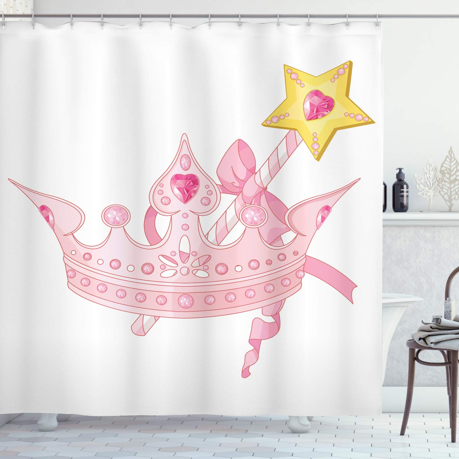 """Ambesonne Princess Shower Curtain, Crown and Magic Wand for True Princess Ribbon Golden Yellow Antique Artwork, Cloth Fabric Bathroom Decor Set with Hooks, 70"""" Long, Pink Yellow"""