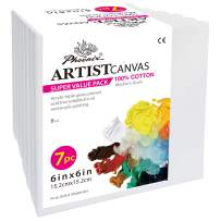 PHOENIX Pre Stretched Canvas for Painting - 6x6 Inch / 7 Pack - 5/8 Inch Profile of Super Value Pack for Oil & Acrylic Paint