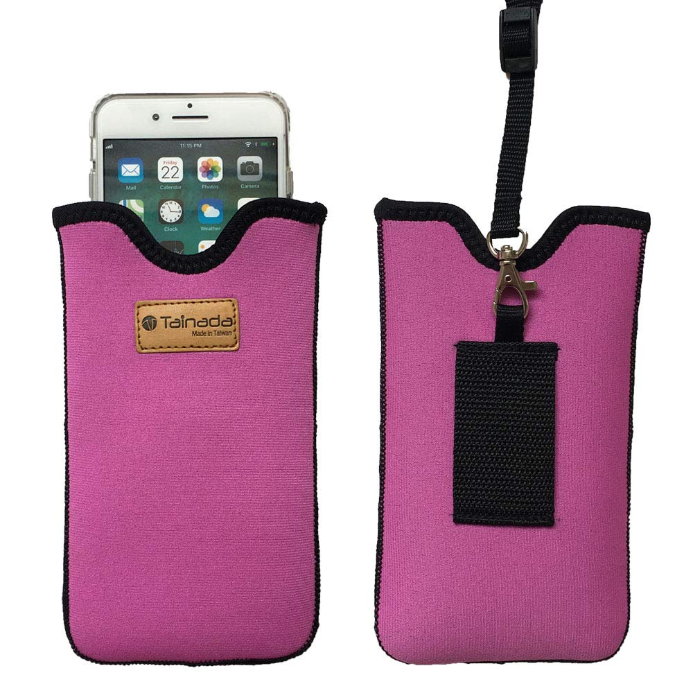 Tainada Neoprene Shockproof Phone Sleeve Pouch Carrying Case with Neck Lanyard Strap, Belt Loop Holster for iPhone 11, 11 Pro Max, Xs Max, XR, Samsung Note 10+, S10, Google Pixel 4 XL (Pink)