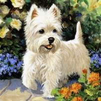 Diamond Painting Kits for Adults Kids, 5D DIY White Dog Diamond Art Accessories with Round Full Drill for Home Wall Decor - 11.8×11.8Inches