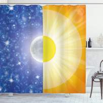 """Ambesonne Space Shower Curtain, Split Design with Stars in The Sky and Sun Beams Solar Balance Nature Image Print, Cloth Fabric Bathroom Decor Set with Hooks, 70"""" Long, Yellow Blue"""