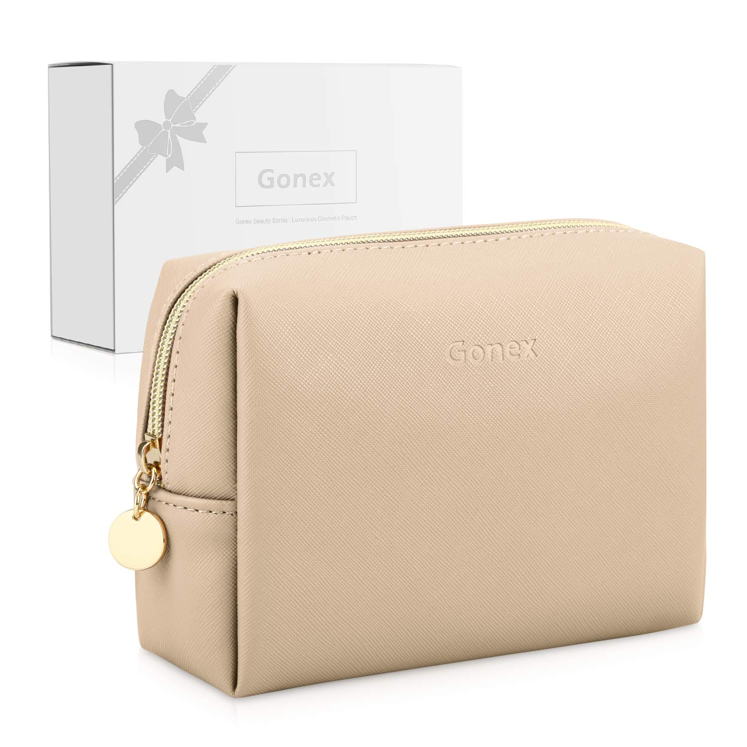 Gonex Small Makeup Bag for Purse PU Vegan Leather Travel Cosmetic Pouch Toiletry Bag for Women Girls Gifts with Gift Box Portable Water-Resistant Daily Storage Organzier Khaki