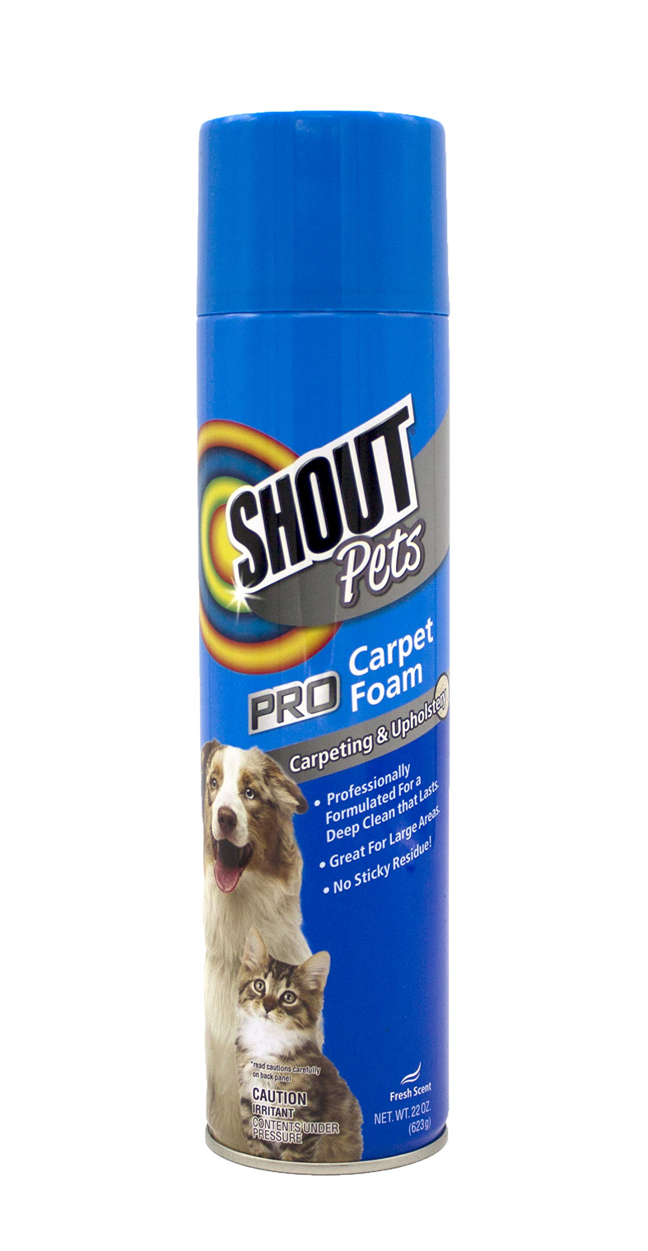 Shout for Pets Pro Strength Carpet Cleaning Foam | Carpet Cleaner Foam and Stain Remover in Fresh Scent, 22 Ounces
