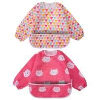 Long Sleeved Bib Waterproof Feeding Bibs Apron with Built-in Pocket Bag, Art Smock for Babies/Toddlers/Infants, Pack of 2 Colors …