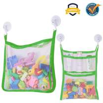 SUNDOKI Bath Toy Organizer, Toy Holder Storage Bags with 4 Suction Cup Hooks and 2 Bath Toy Nets for Kids, Toddlers and Adults (Green)