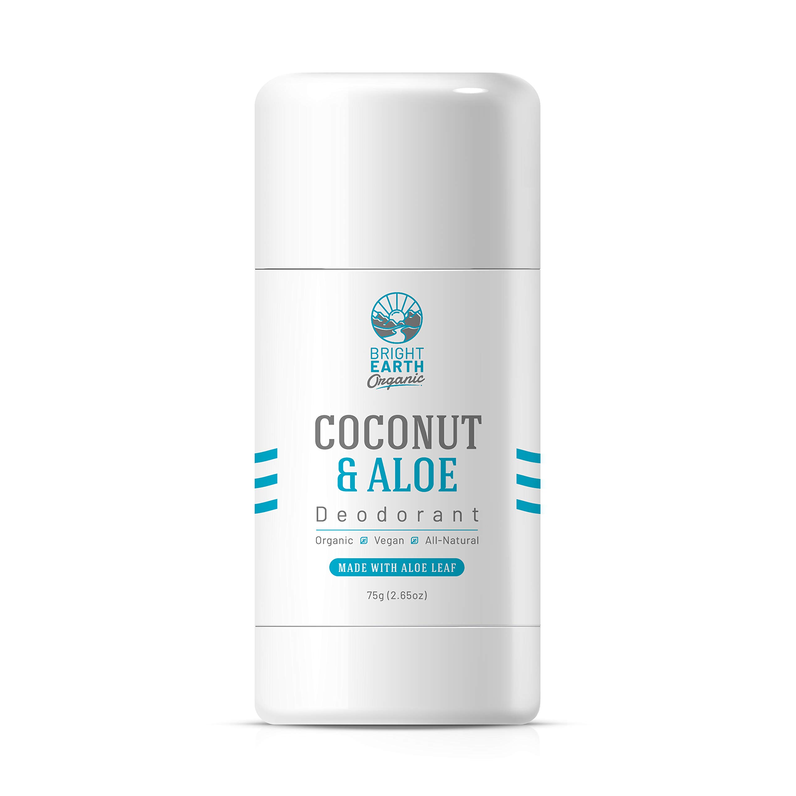 Bright Earth Organic All Natural Coconut and Aloe Unscented Magnesium Deodorant - Free of Aluminum, Baking Soda, Parabens, Sulfates, Gluten, Cruelty – for Men and Women (2.65 oz)