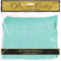 """Amscan 8011.121 Premium Heavy Weight disposable-spoons, 9.5"""" x 9.2"""", Robin's Egg Blue"""