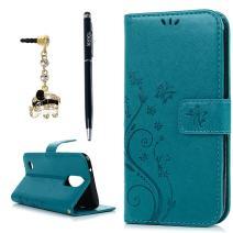 LG K20 Plus Case, LG K20 V Case, LG K10 2017 Case, YOKIRIN Wrist Strap Flip Kickstand PU Leather Wallet Cover Embossed Floral Butterfly with ID&Credit Card Holder 3D Elephant Dust Plug, Blue
