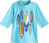 Coolibar UPF 50+ Kid's Sandshark Short Sleeve Surf Shirt - Sun Protective (Small- Ice Blue Pipeline Surfboards)