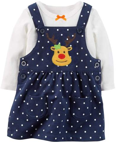 Baby Girl 1st Christmas Outfit My 1st Christmas Romper + Skirt 2PCS Clothing Set