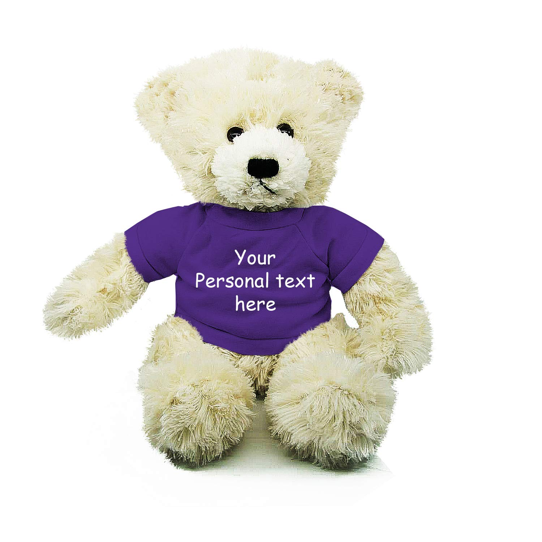 Plushland Cream Brandon Teddy Bear 12 Inch, Stuffed Animal Personalized Gift - Custom Text on Shirt - Great Present for Mothers Day, Valentine Day, Graduation Day, Birthday (Purple Shirt)