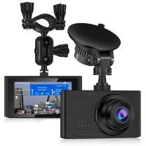 Dash Cam for Cars 1296P FHD Dash Camera Super Night Vision 3 Inch Touch Screen with Rearview Mirror Mount Suction Cup Mount Built-in G-Sensor Looping