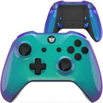 HexGaming Customizable BLADE Controller 2 paddles & Interchangeable Thumbsticks & Triggers Stop for Xbox Series X/S, XBOX pro custom controller PC Wireless FPS Game controller - Chameleon Green Purple