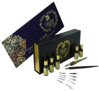 Daveliou Calligraphy Set - 19 Piece Pen Ink and Nibs Kit & Case - Wood and FREE Glass Dipping Pens - 12 Nibs & 5 Ink - For Kids Adults Beginners or Professional