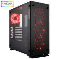 Rosewill ATX Mid Tower Gaming Computer PC Case, Tempered Glass, 7 Color LED Fans, 360mm or 240mm Water Cooling AIO Support, Great Cable Management/Airflow, Gaming Style Window Case - Prism T500