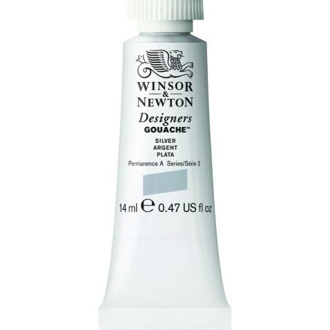 Winsor & Newton Designers Gouache Tube, 14ml, Silver