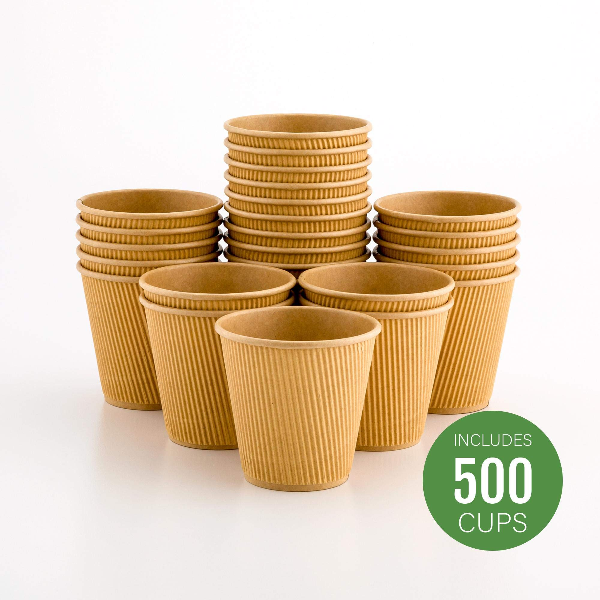 500-CT Disposable Kraft 8-OZ Hot Beverage Cups with Ripple Wall Design: No Need for Sleeves - Perfect for Cafes - Eco-Friendly Recyclable Paper - Insulated - Wholesale Takeout Coffee Cup
