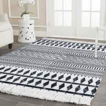 HEBE Large Cotton Area Rugs 3'x5' Machine Washable Hand Woven Tassel Rug Black and Cream Bohemian Rugs Cotton Throw Rugs Floor Mat Carpet for Living Room Bedroom