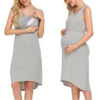 Ekouaer Women Maternity/Labor/delivery/Nursing/Hospital Gown Nightgown Dress (Gray L)