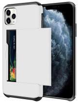 SAMONPOW Wallet Case for iPhone 11 Pro Case with Card Holder Protective Case Dual Layer Shockproof Hard PC Soft Hybrid Rubber Anti Scratch Case for iPhone 11 Pro 5.8 inch (White)