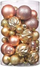 Wyness Christmas Tree Hanging Balls for Xmas Tree, Decoration Roping Baubles Set Christmas Package Tree Ornament Set of 50PCS (Champagne & Gold)