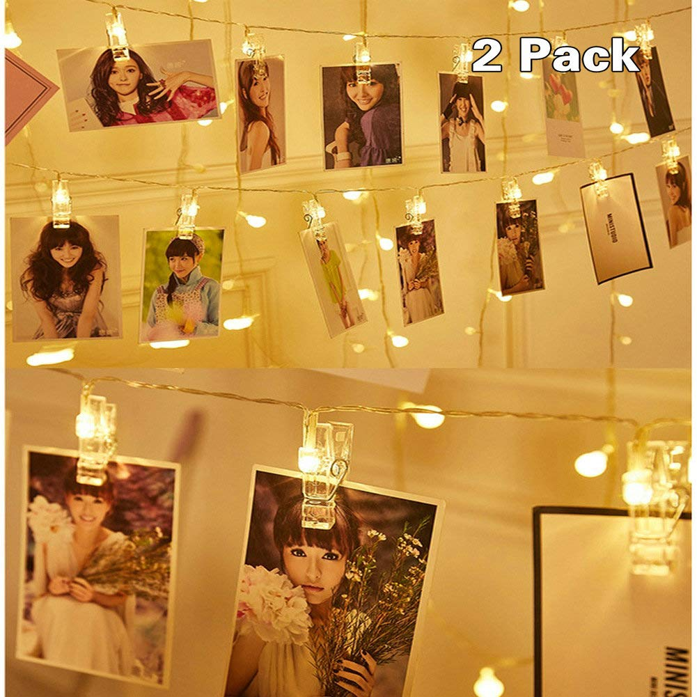 LED Photo Clip String Lights Battery Powered,Perfect Room Decoration/Christmas/Halloween/Party Photo Holder with 10 Clips,2 Pack