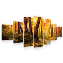Startonight Large Canvas Wall Art Trees - Road Through The Forest - Huge Framed Modern Set of 7 Panels 40 x 95 Inches