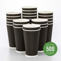 500-CT Disposable Black 16-OZ Hot Beverage Cups with Ripple Wall Design: No Need for Sleeves - Perfect for Cafes - Eco-Friendly Recyclable Paper - Insulated - Wholesale Takeout Coffee Cup