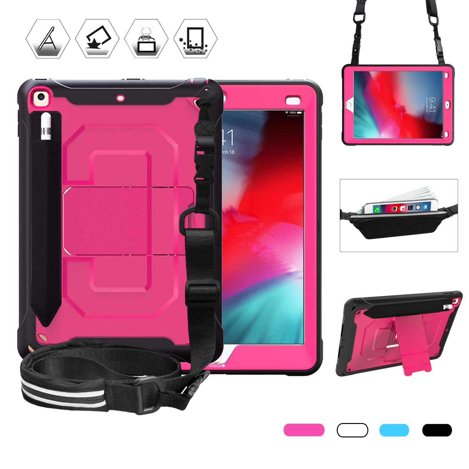 Junfire iPad 9.7 Case, iPad 2018 Case, Rugged Shockproof Heavy Duty Protective Case with Pencil Pen Holder, Kickstand, Shoulder Strap and Storage Pouch for iPad 9.7 Inch A1893 A1954 A1822,Rose