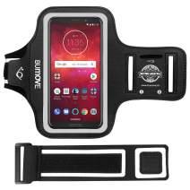 Moto Z4/Z3/G7/E5 Plus Armband, BUMOVE Gym Running Workouts Phone Arm Band for Motorola Moto Z4/Z3/Z2, Moto G7/G7 Power, Moto E5 Plus with Key/Card Holder (Black)