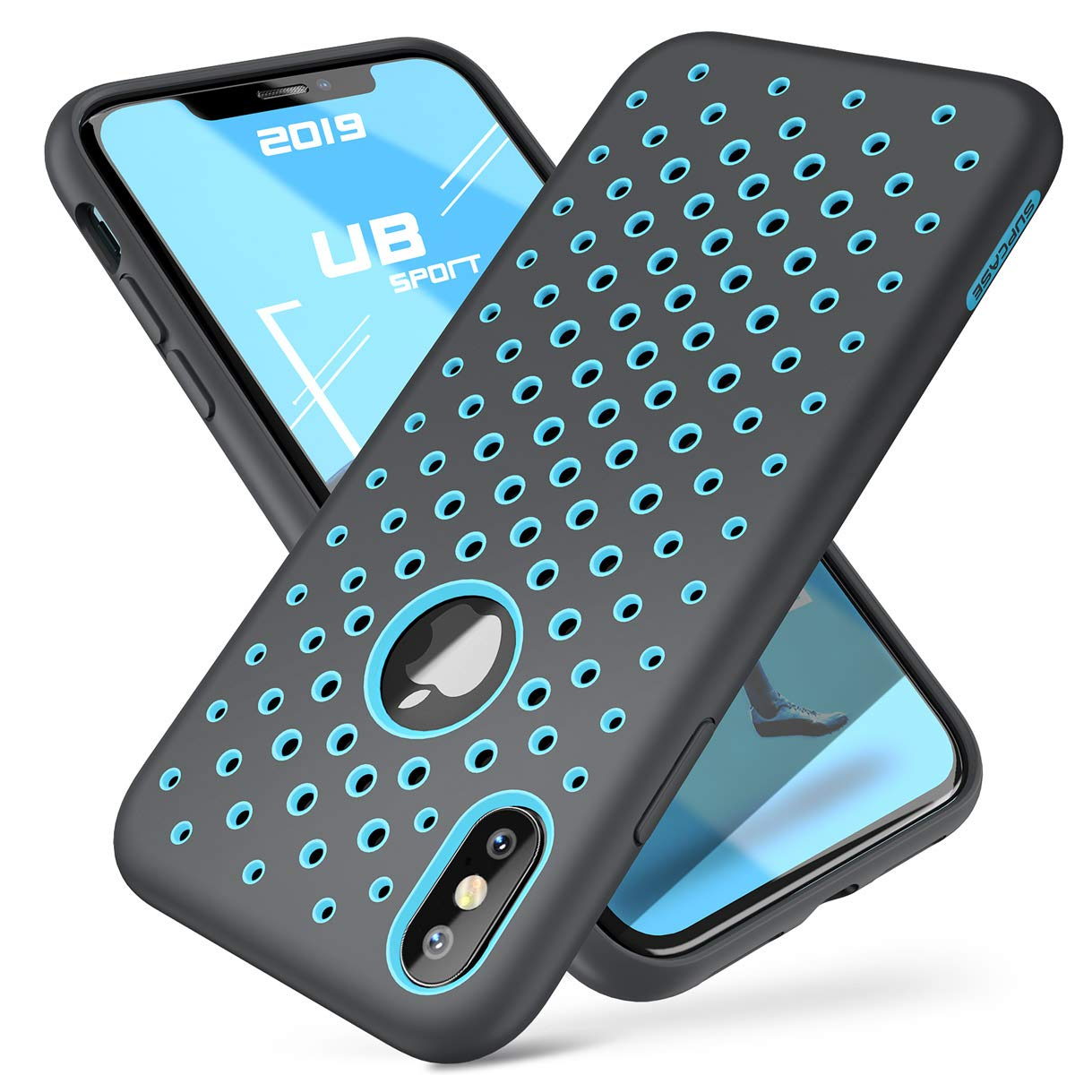 SUPCASE Unicorn Beetle Sport Series for iPhone Xs Case 2018 Release, Liquid Silicone Rubber TPU Premium Hybrid Case [Hole Pattern] with Heat Dissipation (Blue/Gray)