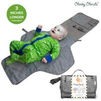 Portable Changing Pad, Portable Diaper Changing Pad, Diaper Bag Mat, Foldable Travel Changing Station | Stroller Strap, Carry Handle, Pockets for Wipes | for Infants & Newborns (Grey)