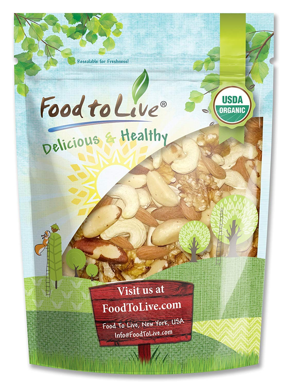 Healthy Mix of Certified Organic Raw Nuts by Food to Live (Cashews, Brazil Nuts, Walnuts, Almonds), Unsalted, Bulk — 1 Pound