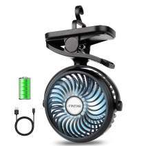 BRIGENIUS Clip On Camping Fan with LED Lights, Battery Operated Mini Desk Fan Rechargeable 2200mAh with 3 Level Air Flow, Portable Personal Fan for Camping Home Office Travel Indoor Outdoor