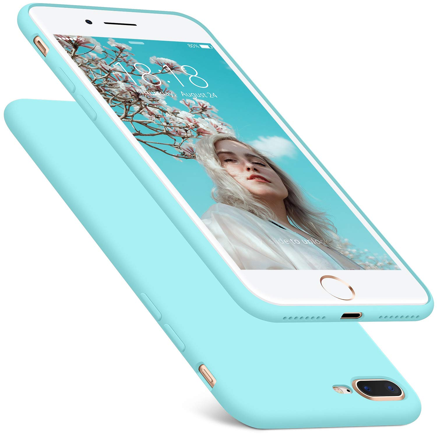 DTTO iPhone 8 Plus Case, iPhone 7 Plus Case, Silicone Case [Romance Series] Rubber Shock-Absorption Anti-Scratch Thin Slim Fit Cover for Apple iPhone 8 Plus 7 Plus 5.5 inches - Light Blue