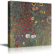 wall26 Garden with Sunflowers in The Countryside by Gustav Klimt - Austrian Symbolist Painter - Canvas Art Home Decor - 16x16 inches
