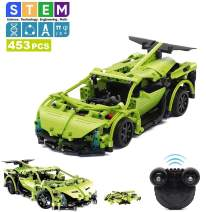 M&Ostyle STEM Building Toys for Kids, Remote Control Car Kits, 453 PCS-Early Learning Car Building, Engineering Science Educational Building Toys Kits for Boys ,Teen Boy Gifts Age 6 and up (Green/453)