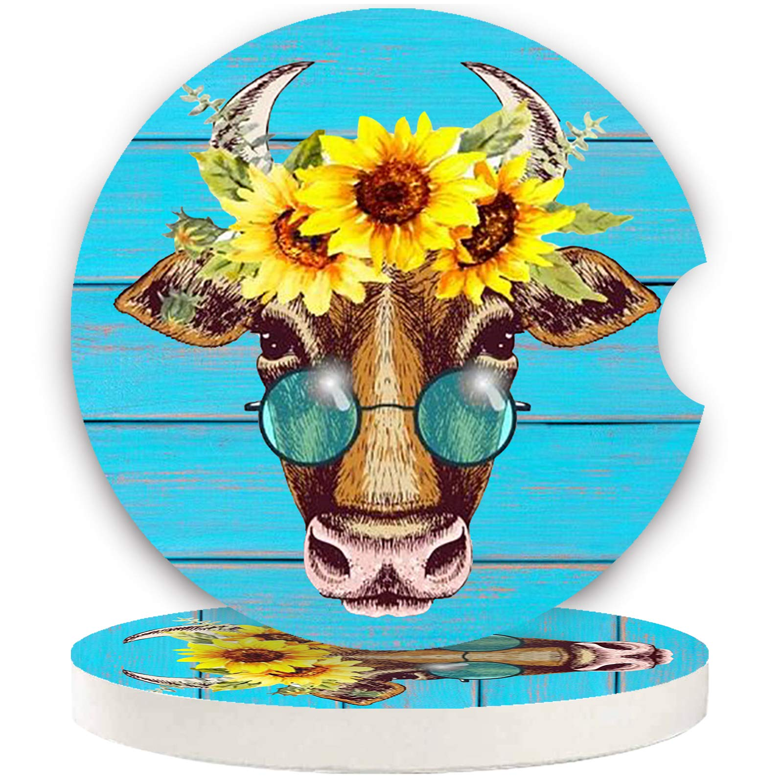 """Car Coasters Pack of 2, Fun Sunflower Cow Design Absorb Condensation for Protect The Car Cup Holder and Keep Your car Clean, Small 2.56"""" Diameter, Easy Removal of Auto Cupholder(Blue Cow)"""