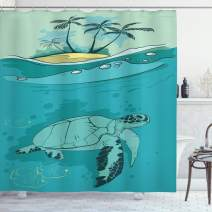 "Ambesonne Ocean Shower Curtain, Sea Turtle Swimming Coral Reef Exotic Island Underwater Life Illustration, Cloth Fabric Bathroom Decor Set with Hooks, 75"" Long, Turquoise Green"