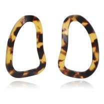 Three Dimentionally Sinuous and Sculptural Hoop with Mottled Acrylic Resin Stud Earrings for Women