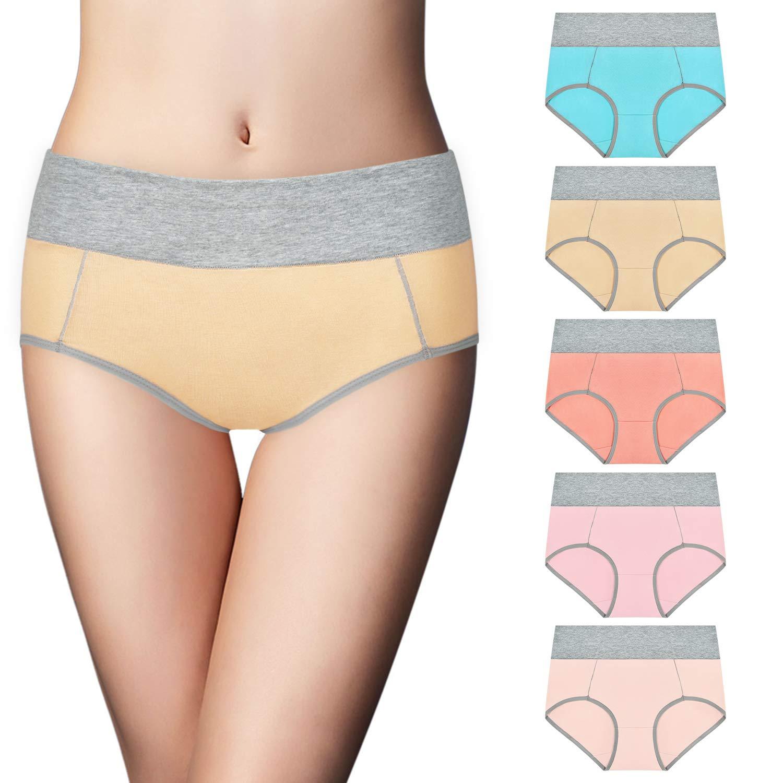 Sunm Boutique 5 Pack Women's Cotton Underwear High Waist Cotton Hipster Briefs Soft Breathable Full Coverage Panties
