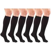 Compression Socks, 15-20 mmHg, Women's Dress Socks, Knee High Over Calf Length Black X-Large (6 Pairs)