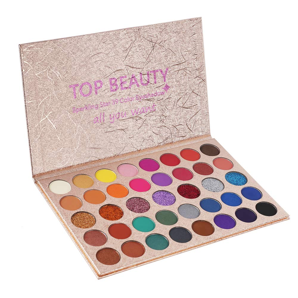 39 Colors Eyeshadow Makeup Palette Highly Pigmented Warm Neutral Smokey Eye Makeup Powder Easy To Color Multifunctional Shimmer Glitter Matte Bright Eye Shadow Silky Powder Cosmetics Set