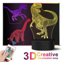 3D Dinosaur Night Light,16 Colors Change with Remote Control,Three Pattern Dinosaur Illusion Acrylic Lights for Kids,Boys and Girls,Bedroom Decor,Battery-Operated Lamp Night,Children's Day Gift