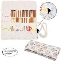 Teamoy Knitting Needles Holder Case(up to 14 Inches), Cotton Canvas Rolling Organizer for Straight and Circular Knitting Needles, Crochet Hooks and Accessories, Tree - NO Accessories Included